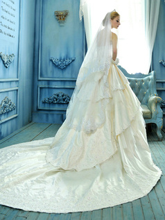 Ball Gown Tube Top Tiered Chapel Train Satin Appliques Wedding Dresses