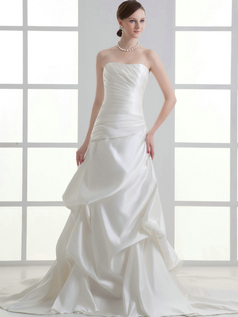 Over Hip Sweetheart Sweep Satin Side-draped Pick-Ups Wedding Dresses