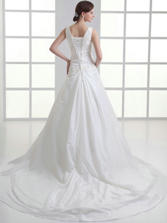 Over Hip Scoop Straps Brush Train Satin Beading Tiered Wedding Dresses