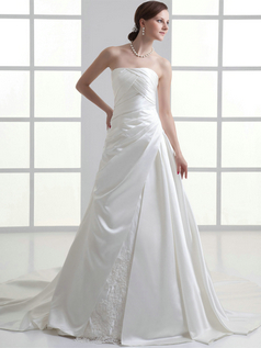 Over Hip Tube Top Court Train Satin Side-draped Wedding Dresses