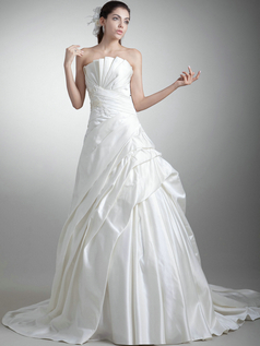 A-line Scalloped-edge Court Train Satin  Crystal Wedding Dresses