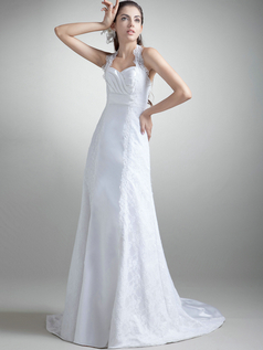 A-line Halter Brush Train Satin Lace Wedding Dresses
