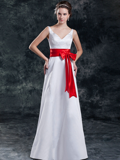 A-line V-neck Strapless Floor-length Satin Bowknot Wedding Dresses