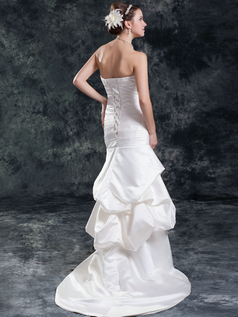 Mermaid Strapless Brush Train Satin Tiered Pick-Ups Wedding Dresses