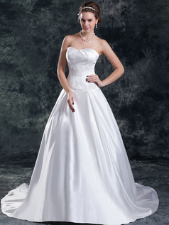 A-line Strapless Brush Train Satin Sequin Beading Wedding Dresses