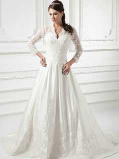 A-line Scalloped-edge Sweep Satin Beading 3/4 Length Sleeve Lace Wedding Dresses