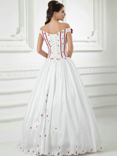 A-line Off-the-shoulder Floor-length Satin Flower Wedding Dresses With Embroidery