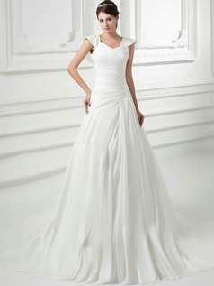 Over Hip Straps Court Train Satin Side-draped Wedding Dresses
