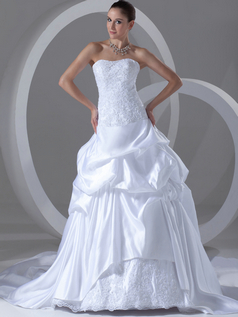 Over Hip Strapless Court Train Satin Sequin Pick-Ups Wedding Dresses