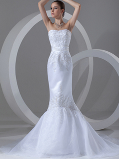 Mermaid Strapless Brush Train Satin Beading Appliques Wedding Dresses