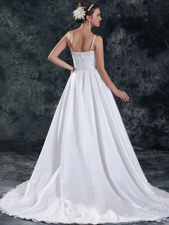 A-line Spaghetti Straps Brush Train Satin Wedding Dresses