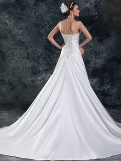 A-line Sweetheart Court Train Satin Crystal Beading Wedding Dresses