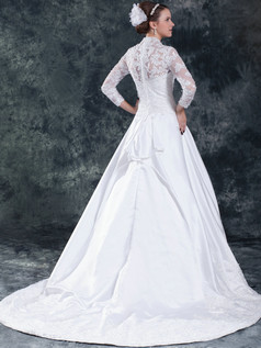 Ball Gown Scalloped-edge Court Train Satin 3/4 Length Sleeve Lace Wedding Dresses With Sequin