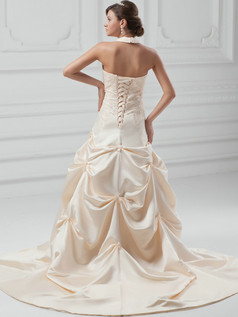 Over Hip Halter Court Train Satin Beadig Pick-Ups Wedding Dresses
