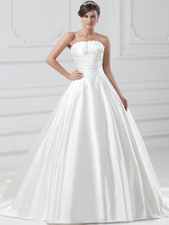 Ball Gown Scalloped-edge Court Train Satin Draped Wedding Dresses