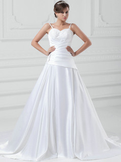 A-line Spaghetti Straps Court Train Satin Beading Wedding Dresses