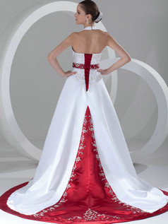 A-line Halter Court Train Satin Embroidery Sequin Wedding Dresses