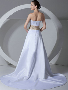 A-line Tube Top Brush Train Satin Bowknot Wedding Dresses