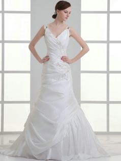 Over Hip V-neck Straps Sweep Stretch Satin Appliques Wedding Dresses
