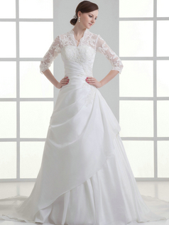 A-line Scalloped-edge Sweep Stretch Satin Half Sleeve Lace Wedding Dresses With Beading