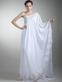 Column Asymmetrical Collar Brush Train Stretch Satin Long Sleeve Wedding Dresses With Beading