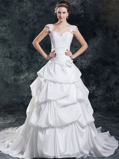 Princess Scalloped-edge Brush Train Stretch Satin Beading Pick-Ups Wedding Dresses