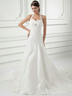 Over Hip Halter Court Train Stretch Satin Crystal Lace Wedding Dresses