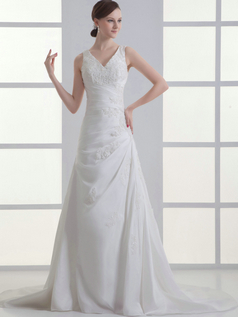 Over Hip V-neck Brush Train Stretch Satin Side-draped Wedding Dresses