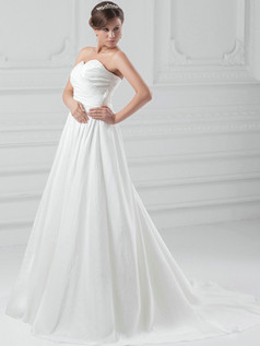 A-line Sweetheart Sweep Stretch Satin Draped Wedding Dresses