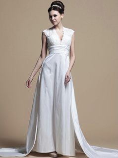 Noble A-line Taffeta V-neck Watteau Train Wedding Dresses