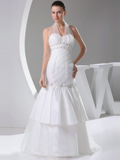 Phenomenal Mermaid Taffeta Halter Sweep Train Wedding Dresses