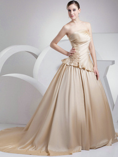 Glamorous Princess Taffeta Tube Top Court Train Wedding Dresses