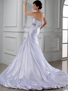 Retro Over Hip Taffeta Tube Top Tiered Wedding Dresses