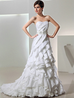 Remarkable A-line Taffeta Sweetheart Cascading Ruffle Wedding Dresses