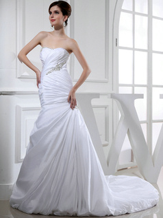 Snazzy Over Hip Taffeta Sweetheart Rhinestone Wedding Dresses
