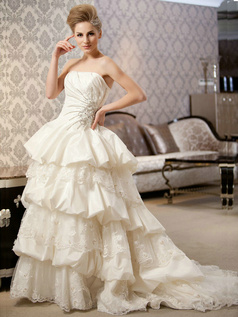 Princess Tube Top Court Train Taffeta Appliques Tiered Wedding Dresses