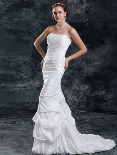 Mermaid Strapless Brush Train Taffeta Tiered Pick-Ups Wedding Dresses