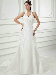 Mermaid Halter Court Train Taffeta Beading Ruffle Wedding Dresses