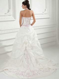 Over Hip Halter Sweep Taffeta Pick-Ups Embroidery Wedding Dresses