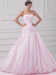 Over Hip Strapless Court Train Taffeta Appliques Wedding Dresses With Beading