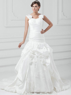 Over Hip Straps Court Train Taffeta Flower Pick-Ups Wedding Dresses