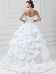 Ball Gown Sweetheart Sweep Taffeta Embroidery Pick-Ups Wedding Dresses