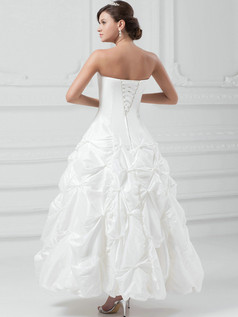 Ball Gown Tube Top Ankle-length Taffeta Beading Sequin Wedding Dresses