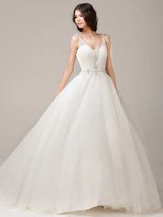 Glamorous Ball Gown Straps Scoop Court Train Tulle Wedding Dress