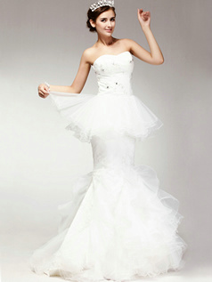 Appealing Mermaid Strapless Sweep Tiered Wedding Dresses