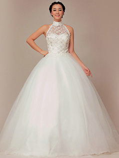 Beautiful Ball Gown Halter Floor-length Lace Wedding Dresses