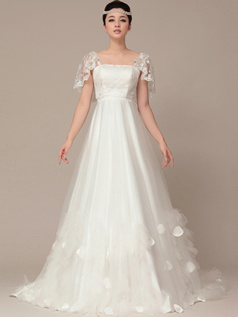 Noble A-Line Straps Sweep Lace Wedding Dresses