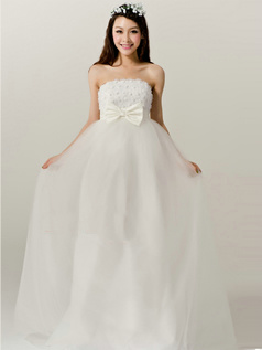 Gorgeous A-Line Tulle Strapless Tube Top Floor-length Bowknot Wedding Dresses