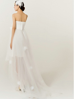 Great A-Line Tulle Strapless Tube Top Asymmetrical Bowknot Wedding Dresses