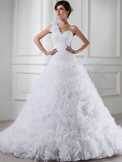 Noble Princess Tulle One shoulder Sequin Wedding Dresses